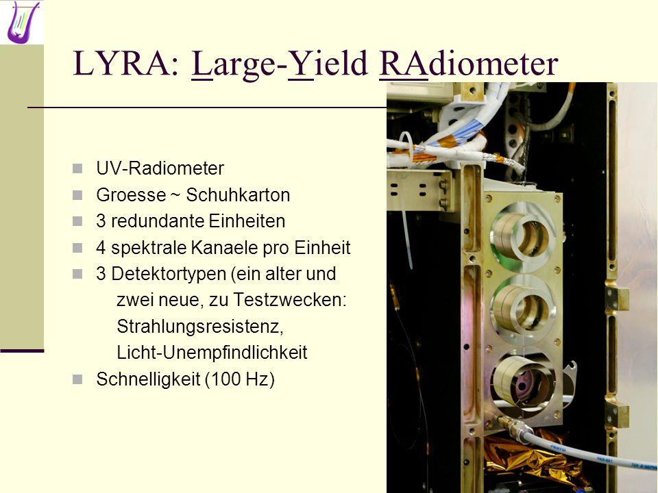 LYRA: Large-Yield RAdiometer UV-Radiometer Groesse ~ Schuhkarton 3 redundante Einheiten 4 spektrale Kanaele pro Einheit 3 Detektortypen (ein alter und