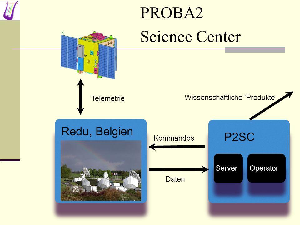 PROBA2 Science Center Redu, Belgien Kommandos Daten Telemetrie P2SC Server Operator Wissenschaftliche Produkte