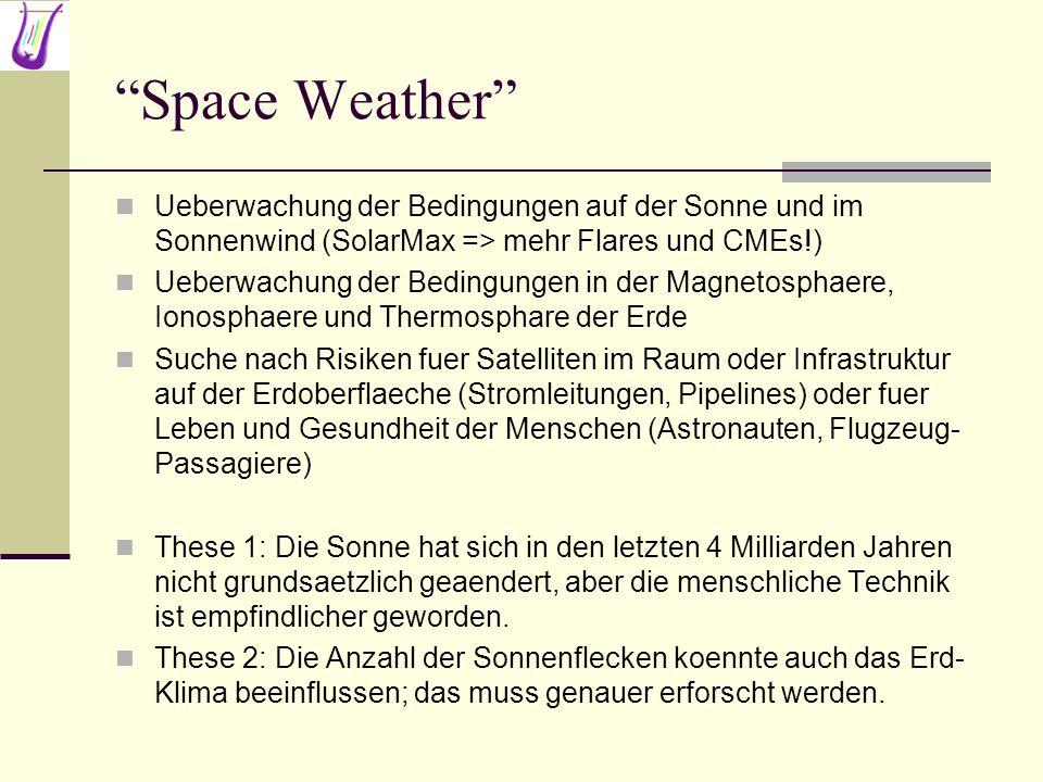 Space Weather Ueberwachung der Bedingungen auf der Sonne und im Sonnenwind (SolarMax => mehr Flares und CMEs!) Ueberwachung der Bedingungen in der Mag