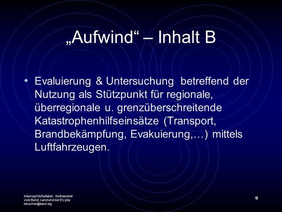 InterregIIIA/Aufwind - Kofinanziert vom Bund, Land und der EU pby mkucher@ixact.org 9 Aufwind – Inhalt B Evaluierung & Untersuchung betreffend der Nutzung als Stützpunkt für regionale, überregionale u.
