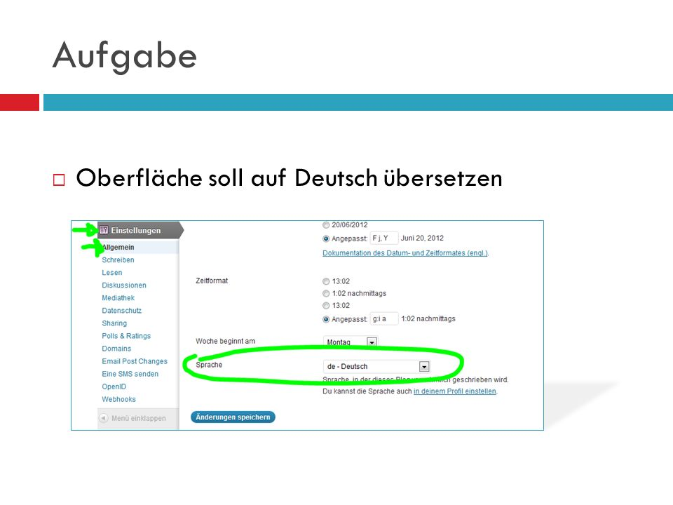 Aufgabe Oberfläche soll auf Deutsch übersetzen
