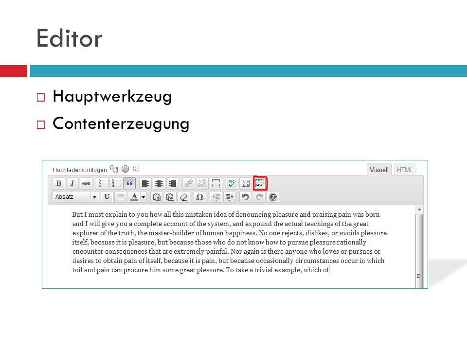 Editor Hauptwerkzeug Contenterzeugung