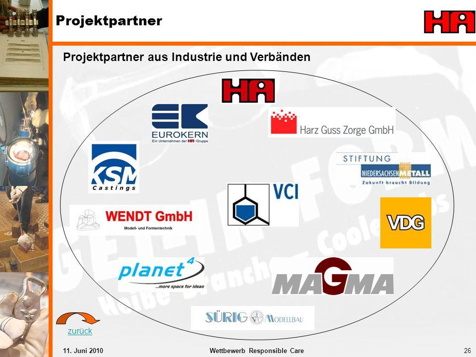 26Wettbewerb Responsible Care11. Juni 2010 Projektpartner Projektpartner aus Industrie und Verbänden zurück