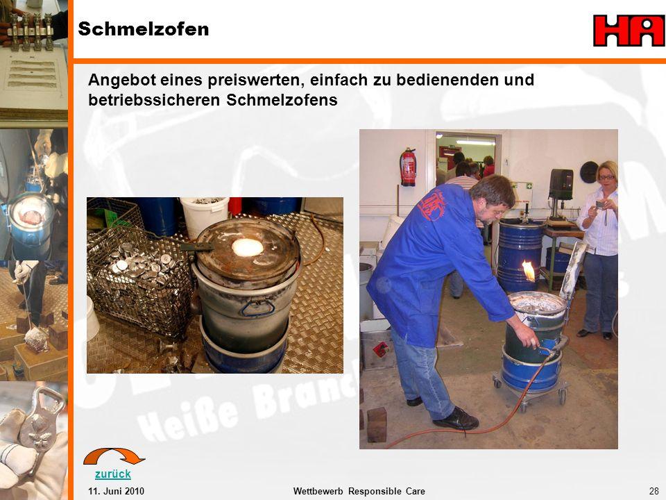28Wettbewerb Responsible Care11. Juni 2010 Schmelzofen Angebot eines preiswerten, einfach zu bedienenden und betriebssicheren Schmelzofens zurück