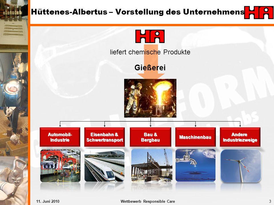 3Wettbewerb Responsible Care11. Juni 2010 Hüttenes-Albertus – Vorstellung des Unternehmens Automobil-Industrie Eisenbahn & Schwertransport Bau & Bergb