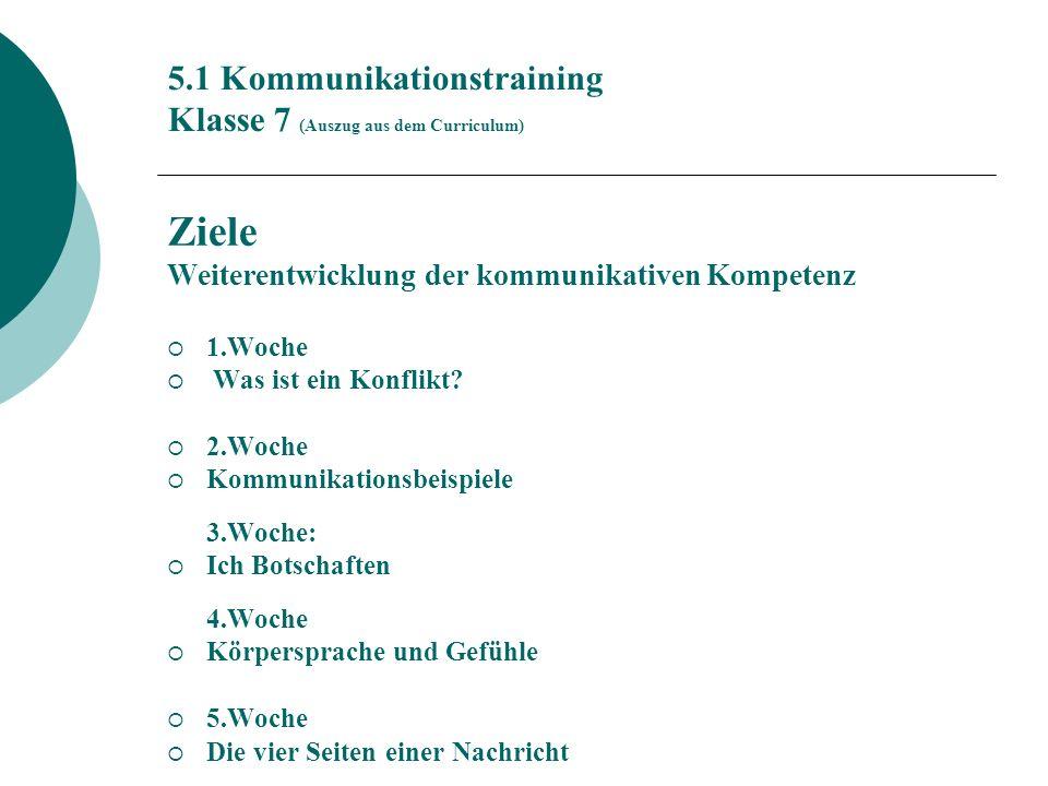 5.1 Kommunikationstraining Klasse 7 (Auszug aus dem Curriculum) Ziele Weiterentwicklung der kommunikativen Kompetenz 1.Woche Was ist ein Konflikt.