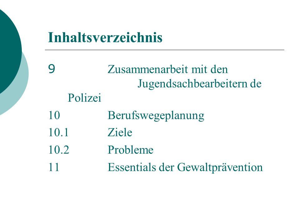 Inhaltsverzeichnis 9 Zusammenarbeit mit den Jugendsachbearbeitern de Polizei 10Berufswegeplanung 10.1Ziele 10.2Probleme 11Essentials der Gewaltprävention