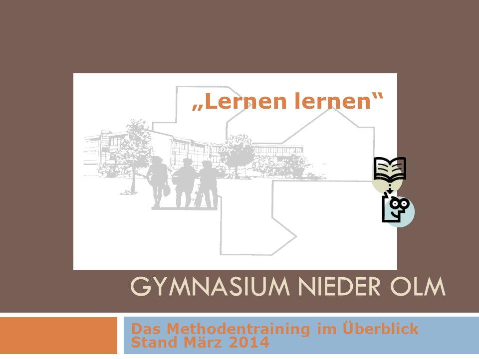 GYMNASIUM NIEDER OLM Das Methodentraining im Überblick Stand März 2014 Lernen lernen