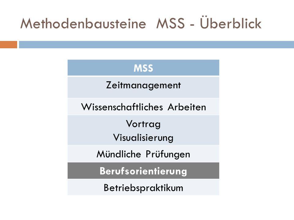 Methodenbausteine MSS - Überblick MSS Zeitmanagement Wissenschaftliches Arbeiten Vortrag Visualisierung Mündliche Prüfungen Berufsorientierung Betriebspraktikum