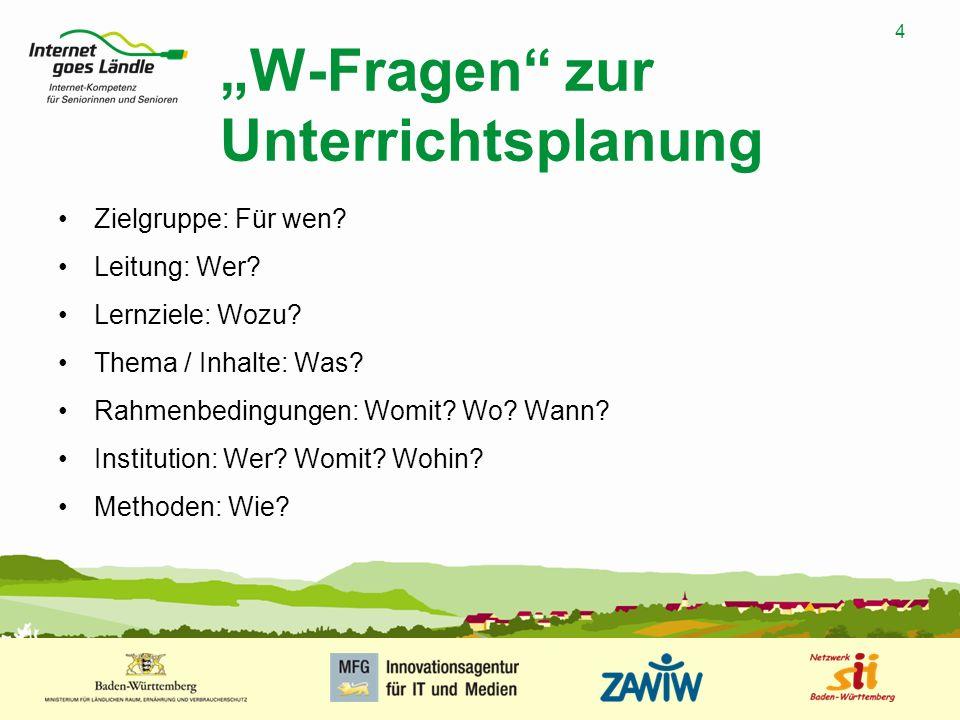 4 MUSTERPRÄSENTATION 09.01.2008 4 W-Fragen zur Unterrichtsplanung Zielgruppe: Für wen.