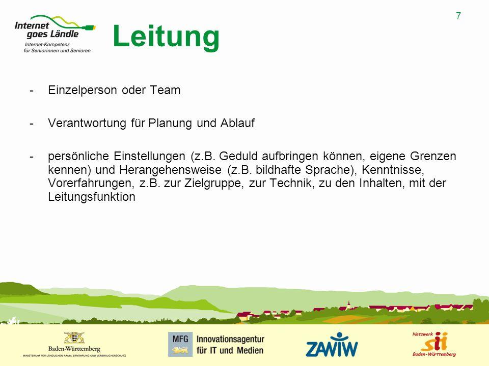8 MUSTERPRÄSENTATION 09.01.2008 8 Lernziele -Grundlage für die Seminarplanung und -durchführung -Wissenserweiterung -Kompetenzvergrößerung (z.B.