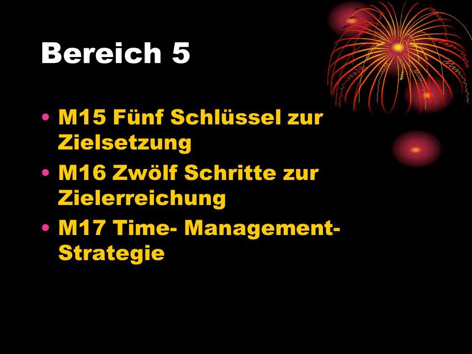 Bereich 5 M15 Fünf Schlüssel zur Zielsetzung M16 Zwölf Schritte zur Zielerreichung M17 Time- Management- Strategie
