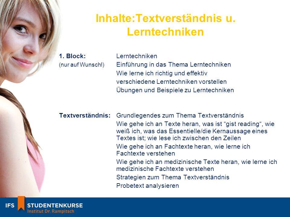 Inhalte:Textverständnis u.Lerntechniken 1.
