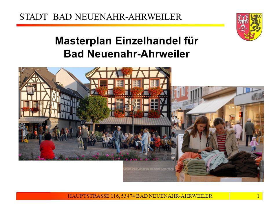 STADT BAD NEUENAHR-AHRWEILER HAUPTSTRASSE 116, 53474 BAD NEUENAHR-AHRWEILER24.08.20121 Masterplan Einzelhandel für Bad Neuenahr-Ahrweiler Eingangsbild