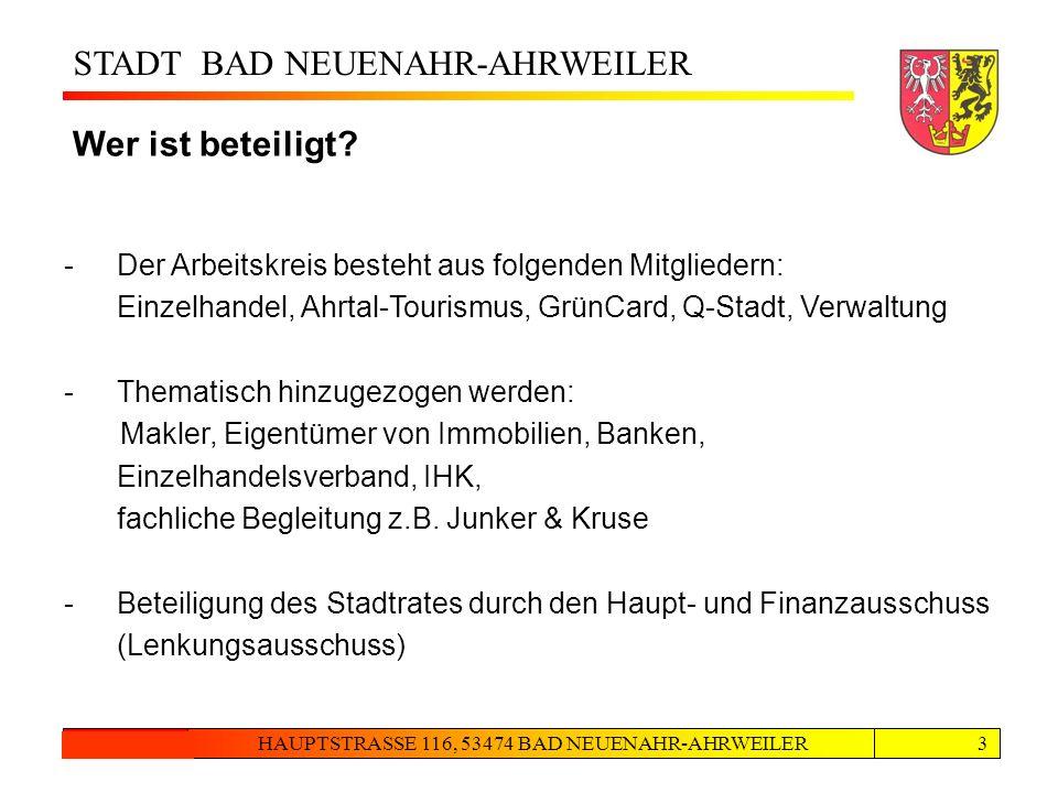 STADT BAD NEUENAHR-AHRWEILER HAUPTSTRASSE 116, 53474 BAD NEUENAHR-AHRWEILER24.08.20123 Zusammenarbeit Wer ist beteiligt? -Der Arbeitskreis besteht aus