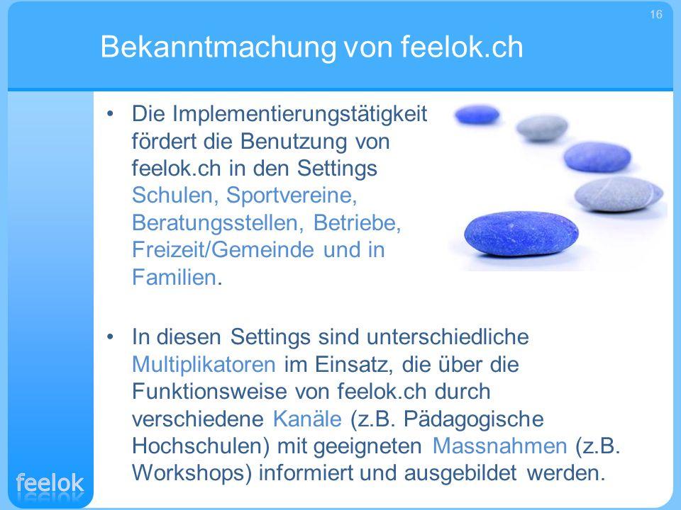Die Implementierungstätigkeit fördert die Benutzung von feelok.ch in den Settings Schulen, Sportvereine, Beratungsstellen, Betriebe, Freizeit/Gemeinde
