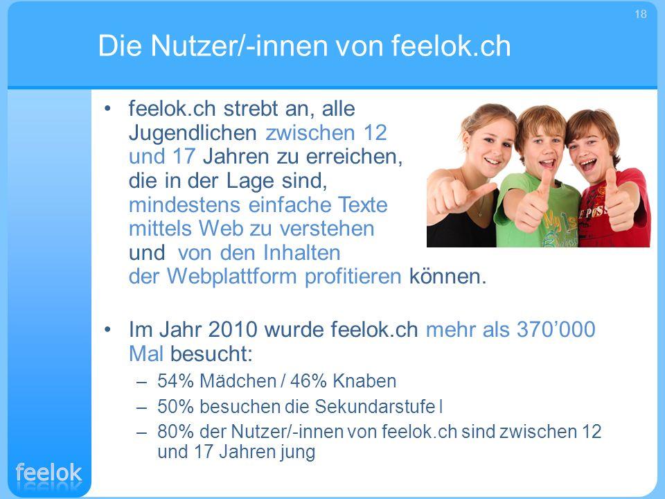 feelok.ch strebt an, alle Jugendlichen zwischen 12 und 17 Jahren zu erreichen, die in der Lage sind, mindestens einfache Texte mittels Web zu verstehe