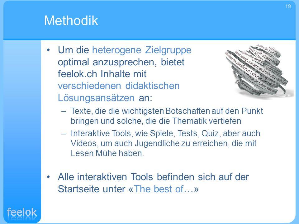 Um die heterogene Zielgruppe optimal anzusprechen, bietet feelok.ch Inhalte mit verschiedenen didaktischen Lösungsansätzen an: –Texte, die die wichtig