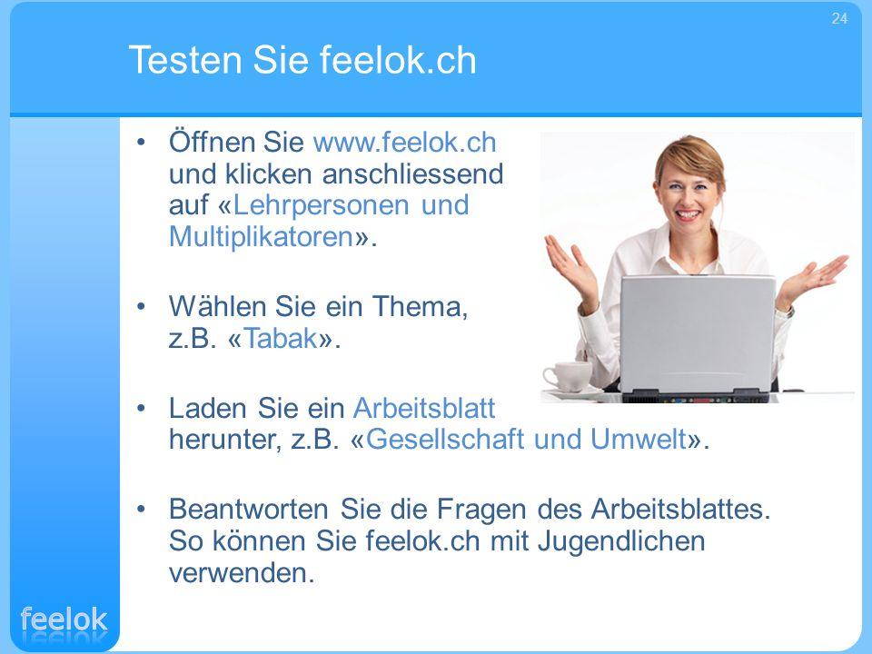 Öffnen Sie www.feelok.ch und klicken anschliessend auf «Lehrpersonen und Multiplikatoren». Wählen Sie ein Thema, z.B. «Tabak». Laden Sie ein Arbeitsbl