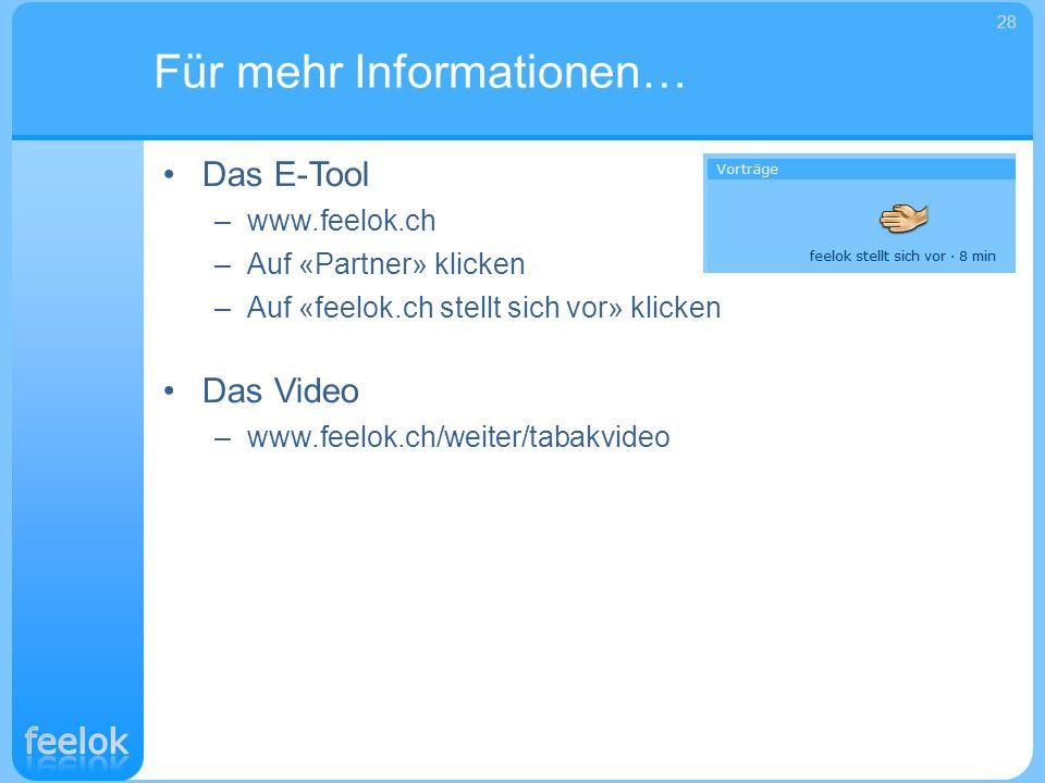 Das E-Tool –www.feelok.ch –Auf «Partner» klicken –Auf «feelok.ch stellt sich vor» klicken Das Video –www.feelok.ch/weiter/tabakvideo Für mehr Informat
