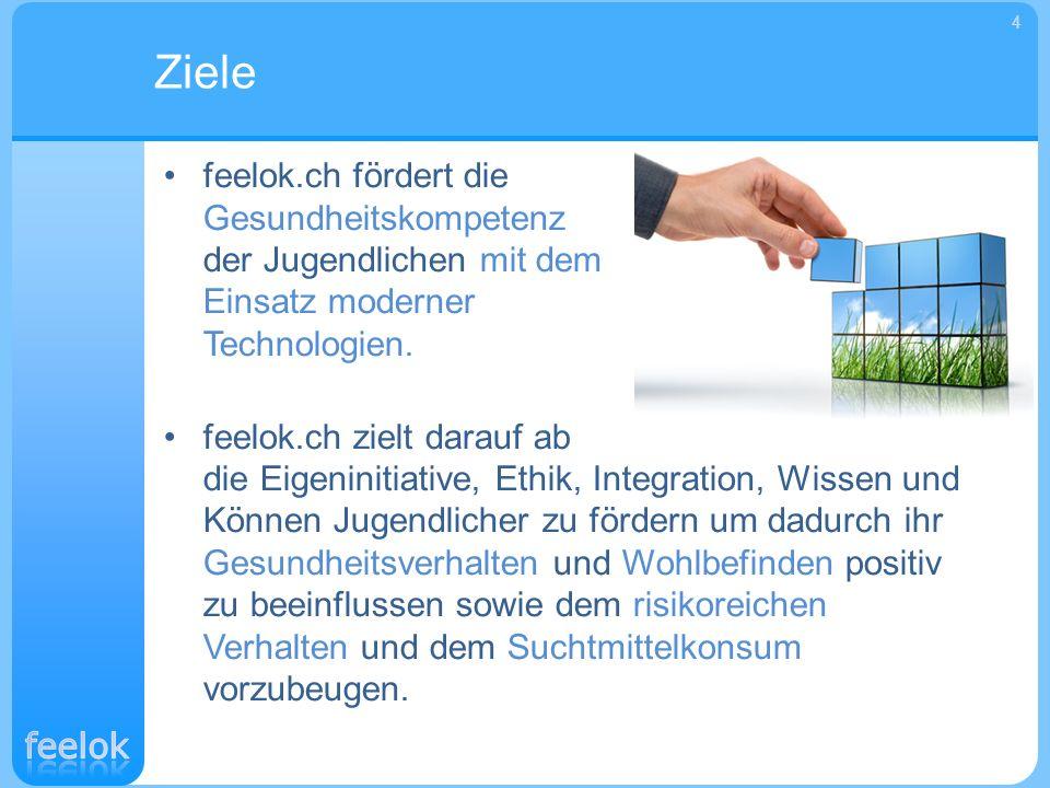 Die thematischen Ziele von feelok.ch sind: Die Prävention von Alkoholabhängigkeit sowie von Tabak- und Cannabiskonsum.
