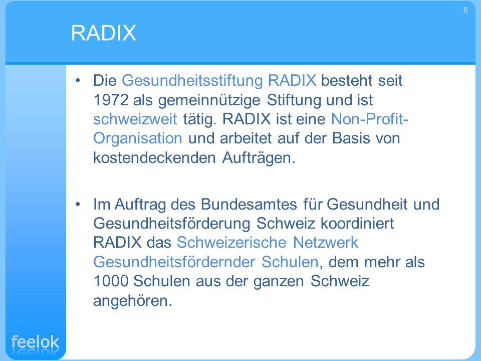 Die Gesundheitsstiftung RADIX besteht seit 1972 als gemeinnützige Stiftung und ist schweizweit tätig. RADIX ist eine Non-Profit- Organisation und arbe
