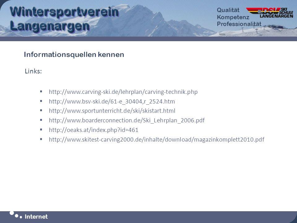 Qualität Kompetenz Professionalität Qualität Kompetenz Professionalität Internet Links: http://www.carving-ski.de/lehrplan/carving-technik.php http://