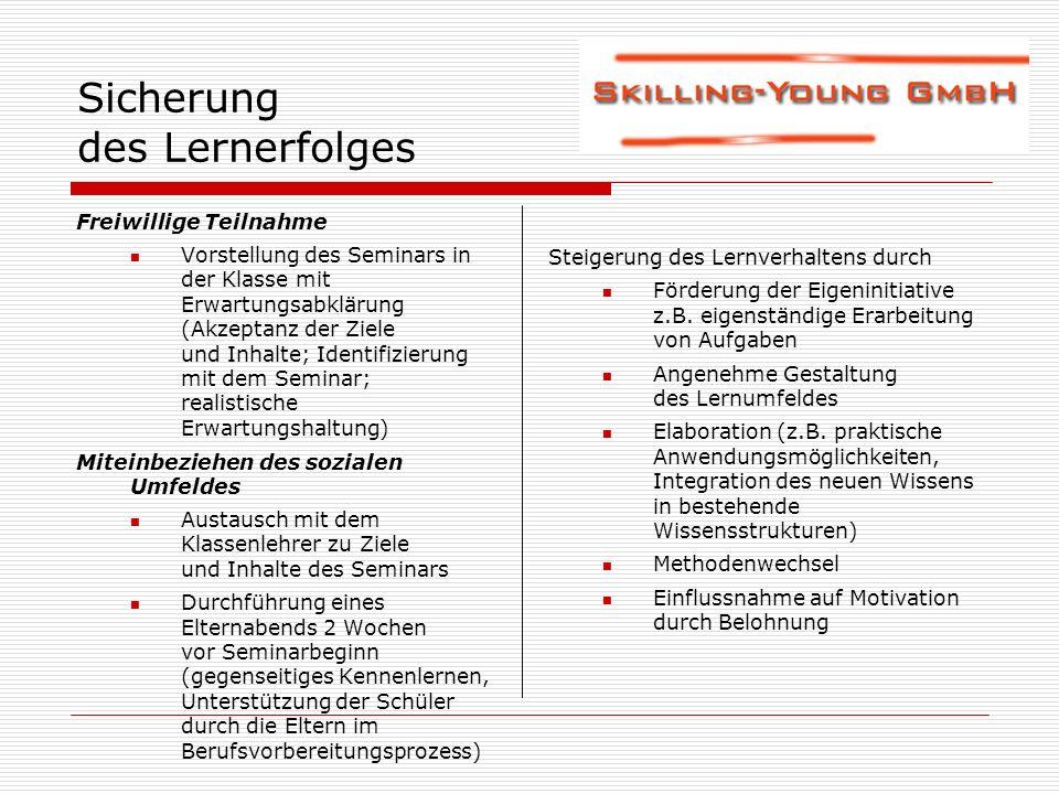 Sicherung des Lernerfolges Freiwillige Teilnahme Vorstellung des Seminars in der Klasse mit Erwartungsabklärung (Akzeptanz der Ziele und Inhalte; Iden