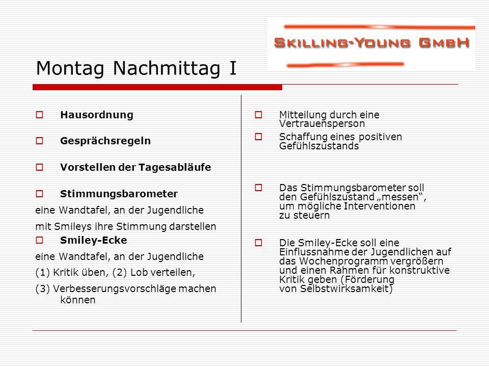 Montag Nachmittag I Hausordnung Gesprächsregeln Vorstellen der Tagesabläufe Stimmungsbarometer eine Wandtafel, an der Jugendliche mit Smileys ihre Sti