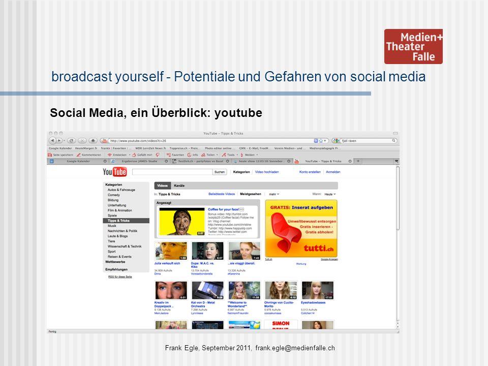 broadcast yourself - Potentiale und Gefahren von social media Social Media, ein Überblick: youtube Frank Egle, September 2011, frank.egle@medienfalle.