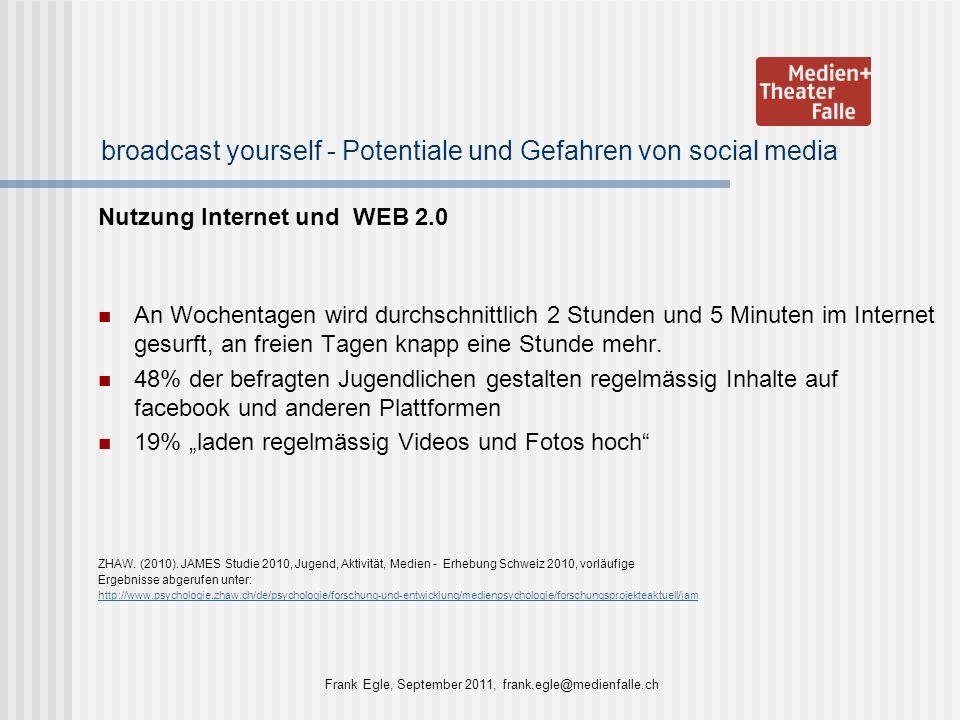broadcast yourself - Potentiale und Gefahren von social media Nutzung Internet und WEB 2.0 An Wochentagen wird durchschnittlich 2 Stunden und 5 Minute