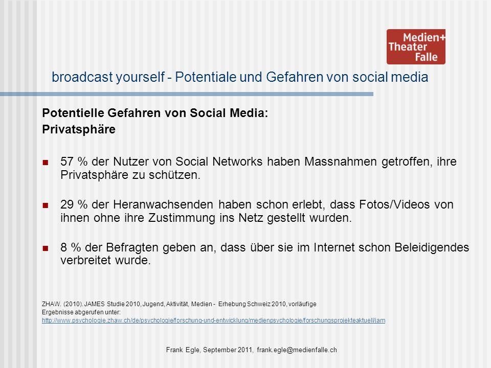 broadcast yourself - Potentiale und Gefahren von social media Potentielle Gefahren von Social Media: Privatsphäre 57 % der Nutzer von Social Networks