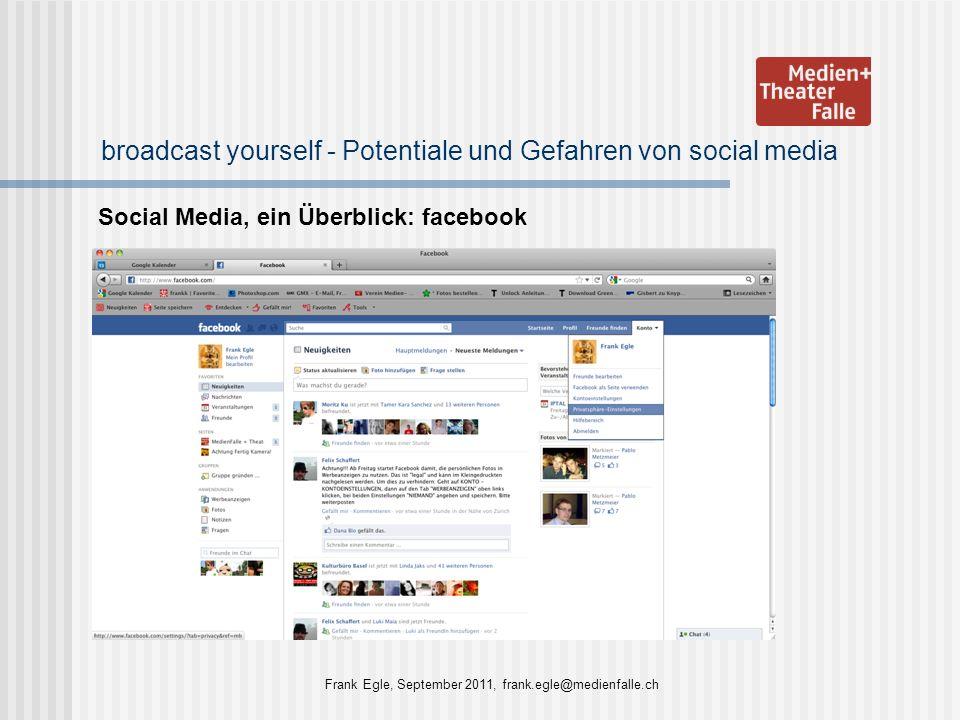 broadcast yourself - Potentiale und Gefahren von social media Social Media, ein Überblick: facebook Frank Egle, September 2011, frank.egle@medienfalle