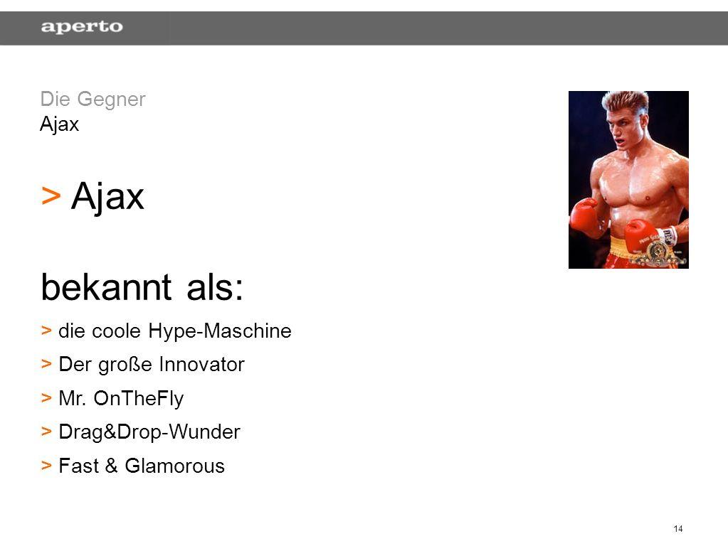 14 Die Gegner Ajax > > Ajax bekannt als: > > die coole Hype-Maschine > > Der große Innovator > > Mr. OnTheFly > > Drag&Drop-Wunder > > Fast & Glamorou