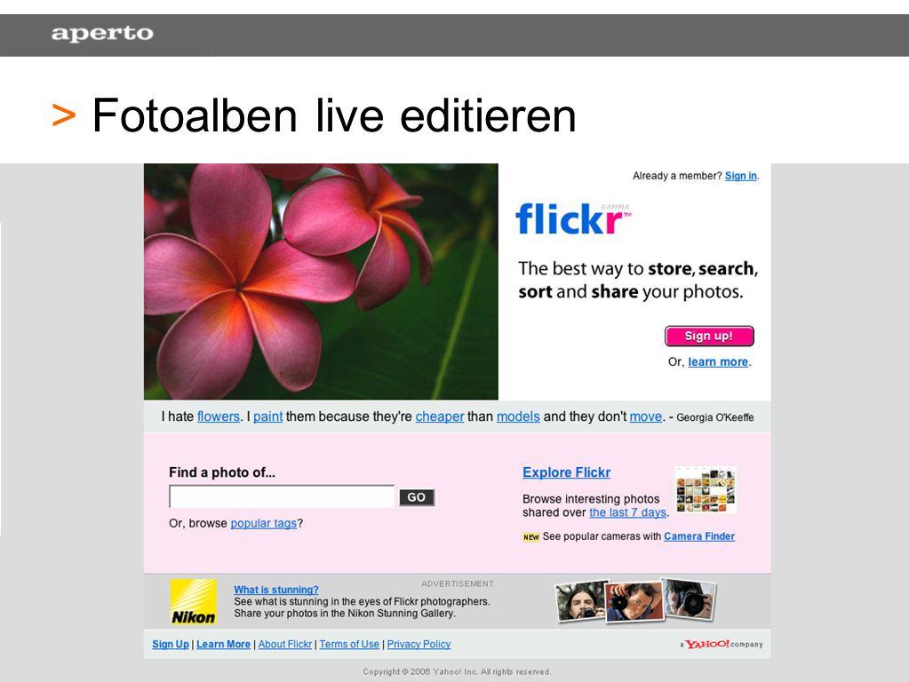 19 > > Fotoalben live editieren