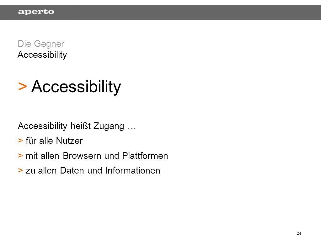 24 Die Gegner Accessibility > > Accessibility Accessibility heißt Zugang … > > für alle Nutzer > > mit allen Browsern und Plattformen > > zu allen Daten und Informationen