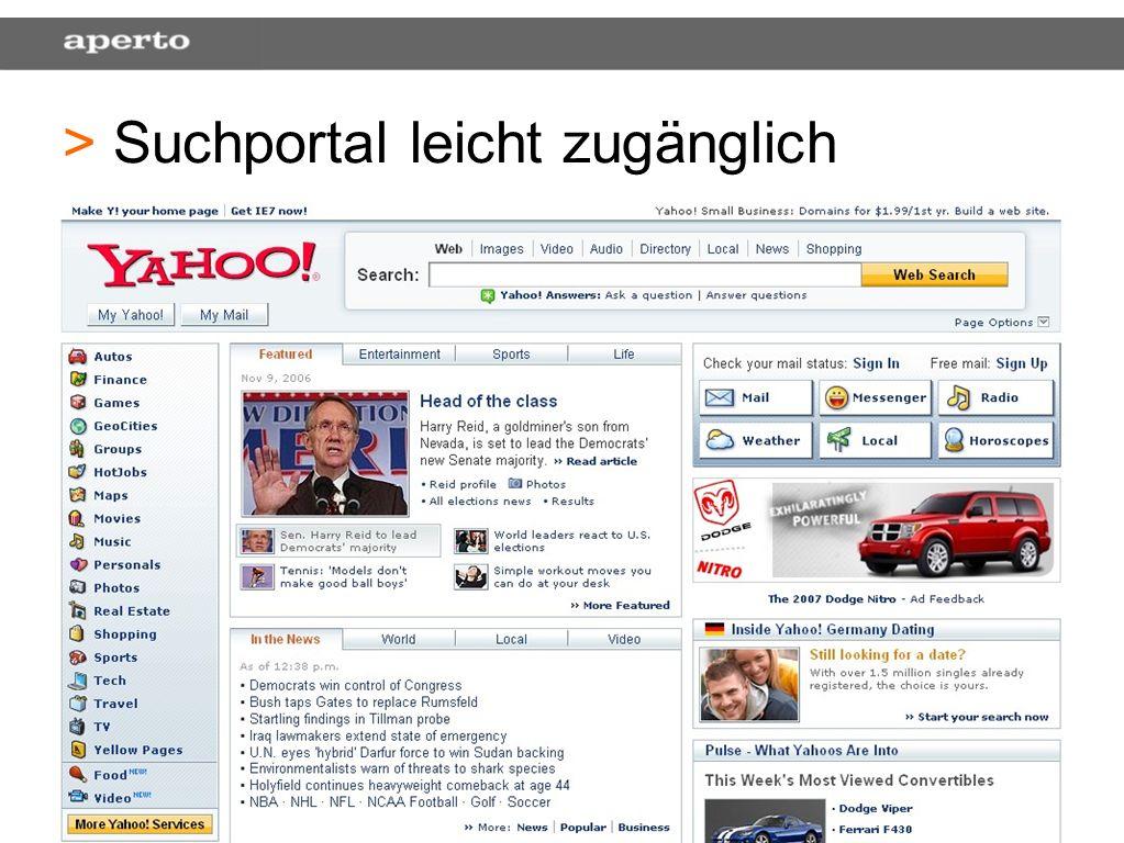 37 > > Suchportal leicht zugänglich