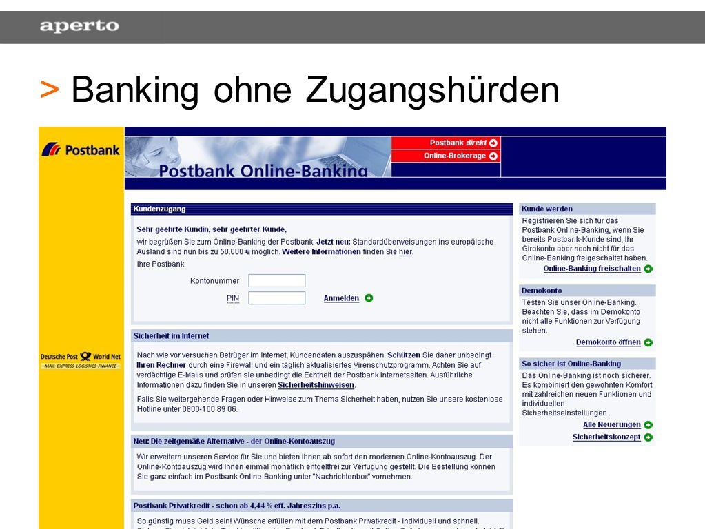 38 > > Banking ohne Zugangshürden