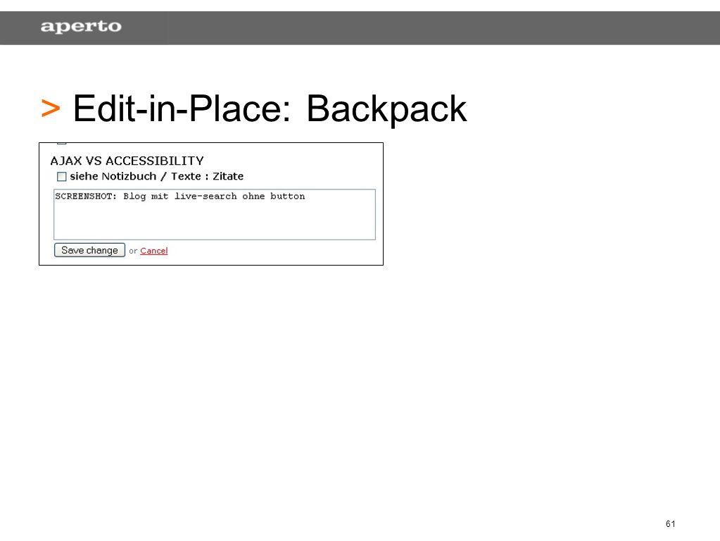 61 > > Edit-in-Place: Backpack