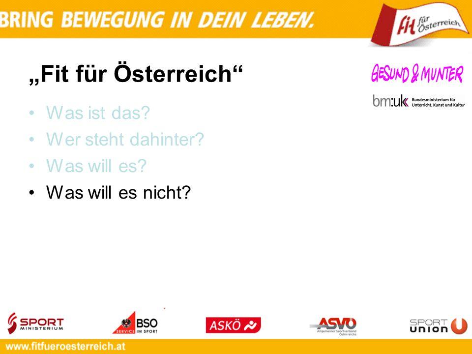 Fit für Österreich Was ist das? Wer steht dahinter? Was will es? Was will es nicht?