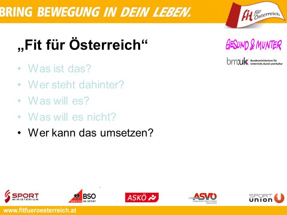 Fit für Österreich Was ist das? Wer steht dahinter? Was will es? Was will es nicht? Wer kann das umsetzen?