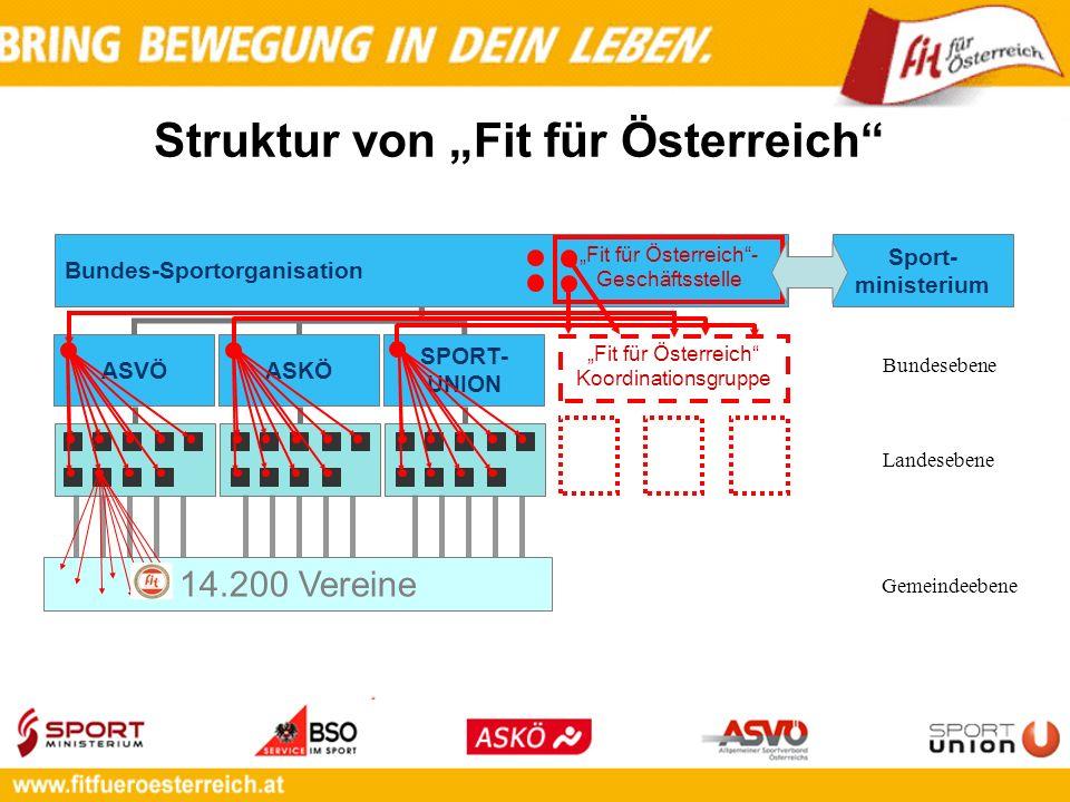 Bundes-Sportorganisation Sport- ministerium 14.200 Vereine Struktur von Fit für Österreich ASKÖ SPORT- UNION ASVÖ Fit für Österreich- Geschäftsstelle