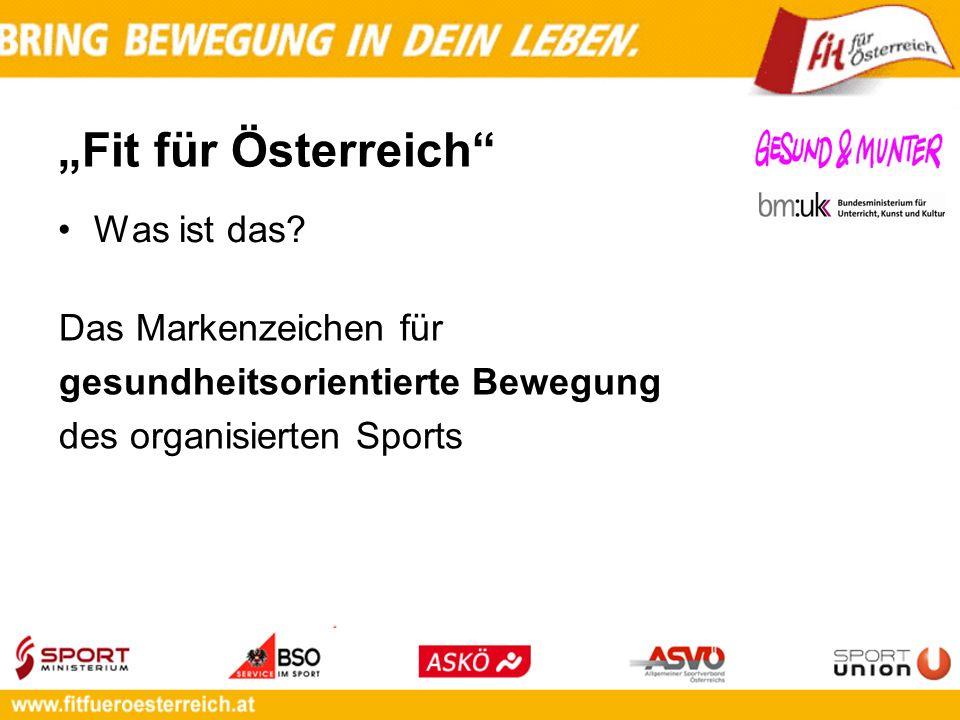 Geschäftsstelle Fit für Österreich c/o Österreichische Bundes-Sportorganisation (BSO) ZVR 428560407 1040 Wien, Prinz Eugen-Straße 12 Tel.: +43 / 1 / 504 44 55-12 Mobil: +43 / 664 / 804 55 55 Fax: +43 / 1 / 504 44 55-66 e-mail: office@fitfueroesterreich.at www.fitfueroesterreich.at Kontakt