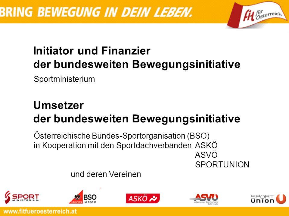 Initiator und Finanzier der bundesweiten Bewegungsinitiative Österreichische Bundes-Sportorganisation (BSO) in Kooperation mit den Sportdachverbänden