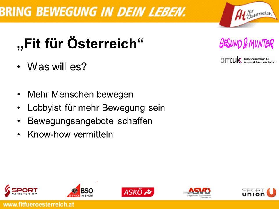 Fit für Österreich Was will es? Mehr Menschen bewegen Lobbyist für mehr Bewegung sein Bewegungsangebote schaffen Know-how vermitteln