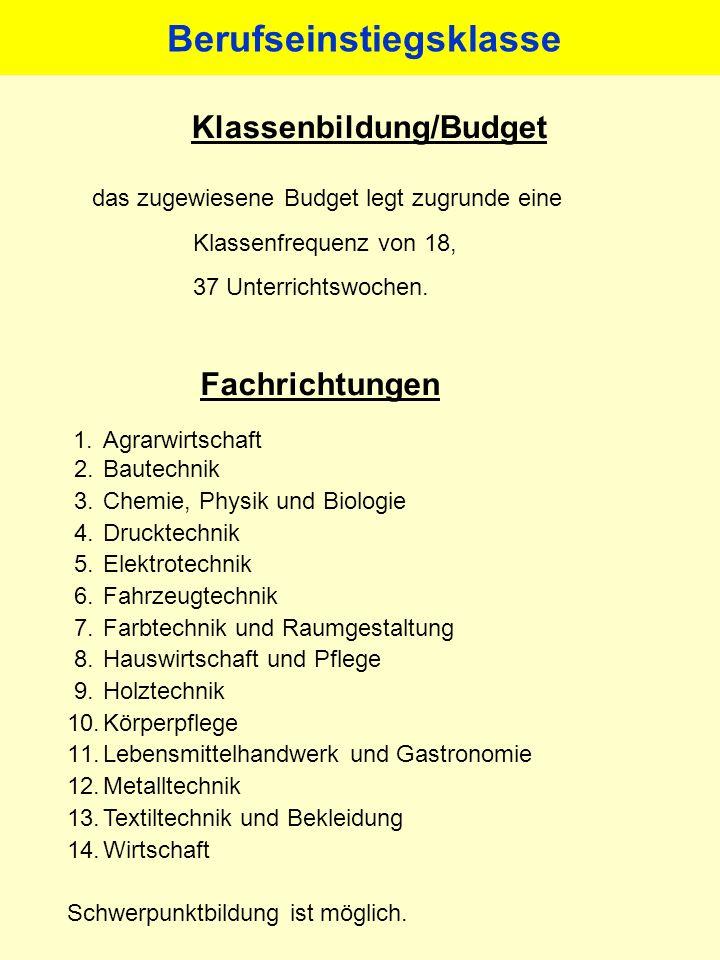 Klassenbildung/Budget das zugewiesene Budget legt zugrunde eine Klassenfrequenz von 18, 37 Unterrichtswochen. Fachrichtungen 1.Agrarwirtschaft 2.Baute