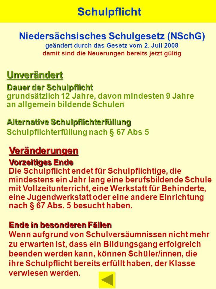 Niedersächsisches Schulgesetz (NSchG) geändert durch das Gesetz vom 2. Juli 2008 damit sind die Neuerungen bereits jetzt gültig Unverändert Dauer der