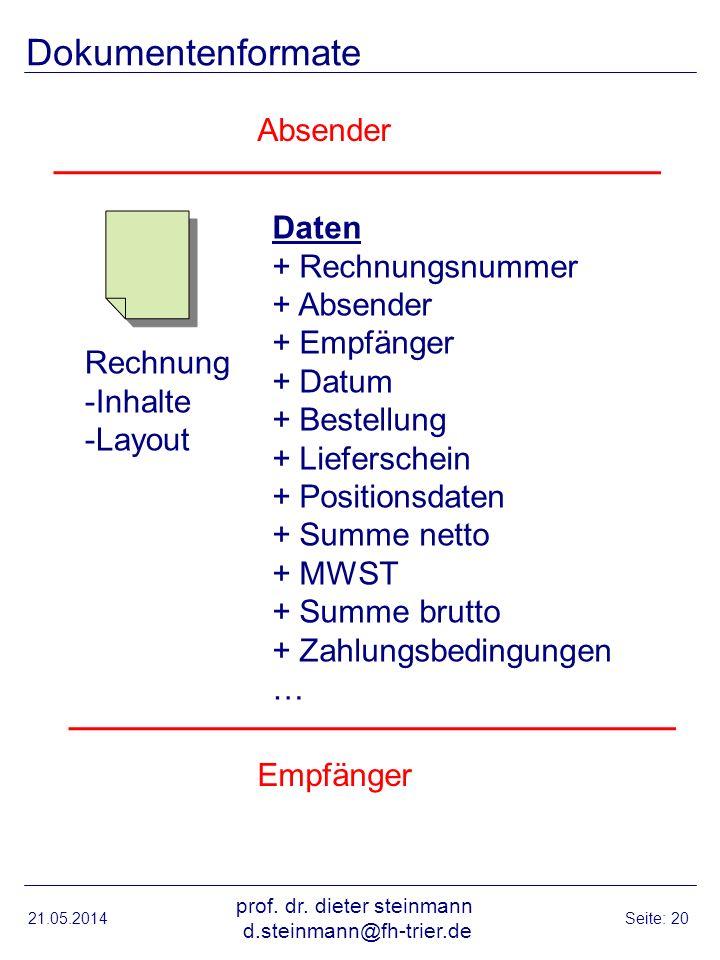Dokumentenformate 21.05.2014 prof. dr. dieter steinmann d.steinmann@fh-trier.de Seite: 20 Rechnung -Inhalte -Layout Daten + Rechnungsnummer + Absender