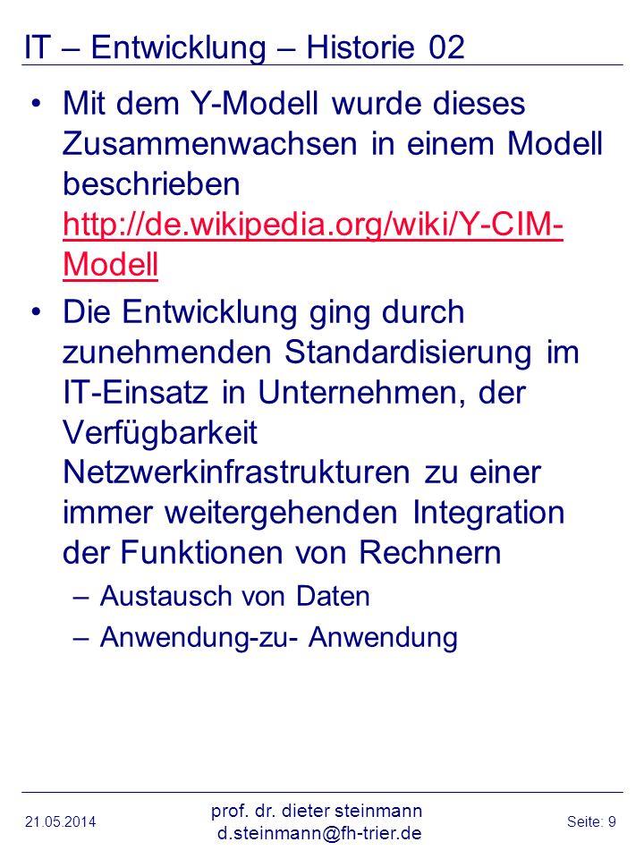 IT – Entwicklung – Historie 02 Mit dem Y-Modell wurde dieses Zusammenwachsen in einem Modell beschrieben http://de.wikipedia.org/wiki/Y-CIM- Modell http://de.wikipedia.org/wiki/Y-CIM- Modell Die Entwicklung ging durch zunehmenden Standardisierung im IT-Einsatz in Unternehmen, der Verfügbarkeit Netzwerkinfrastrukturen zu einer immer weitergehenden Integration der Funktionen von Rechnern –Austausch von Daten –Anwendung-zu- Anwendung 21.05.2014 prof.