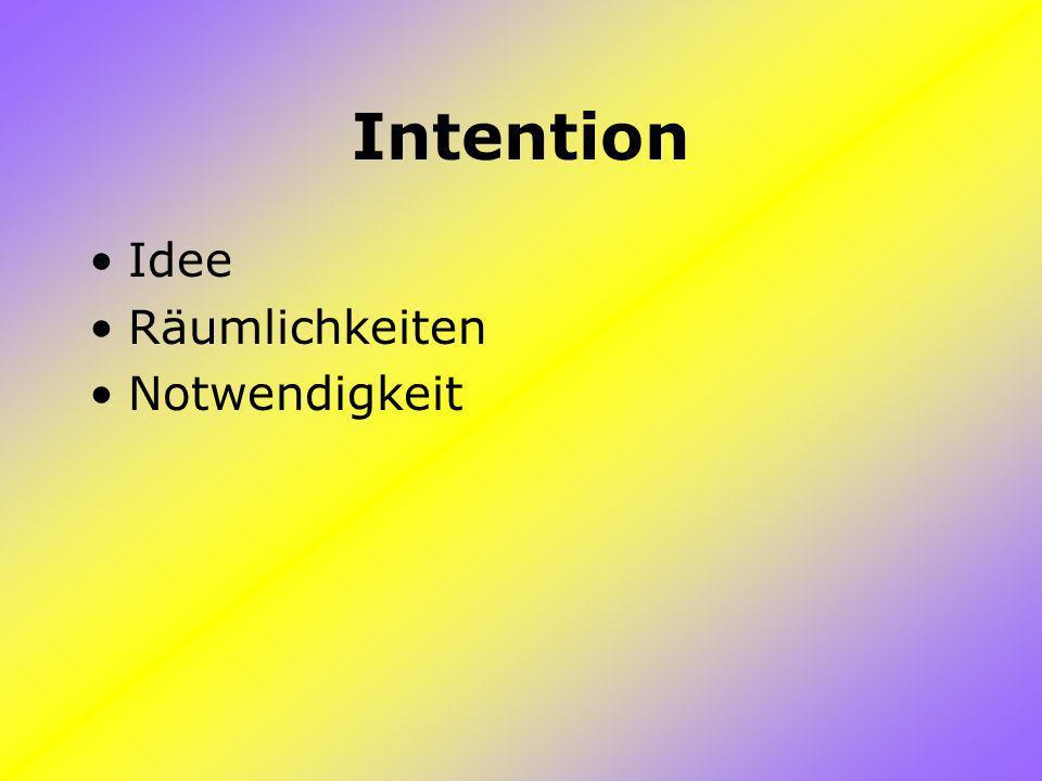 Intention Idee Räumlichkeiten Notwendigkeit